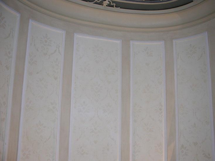 Damascato dipinto su muro, restauro villa d'epoca, Bergamo