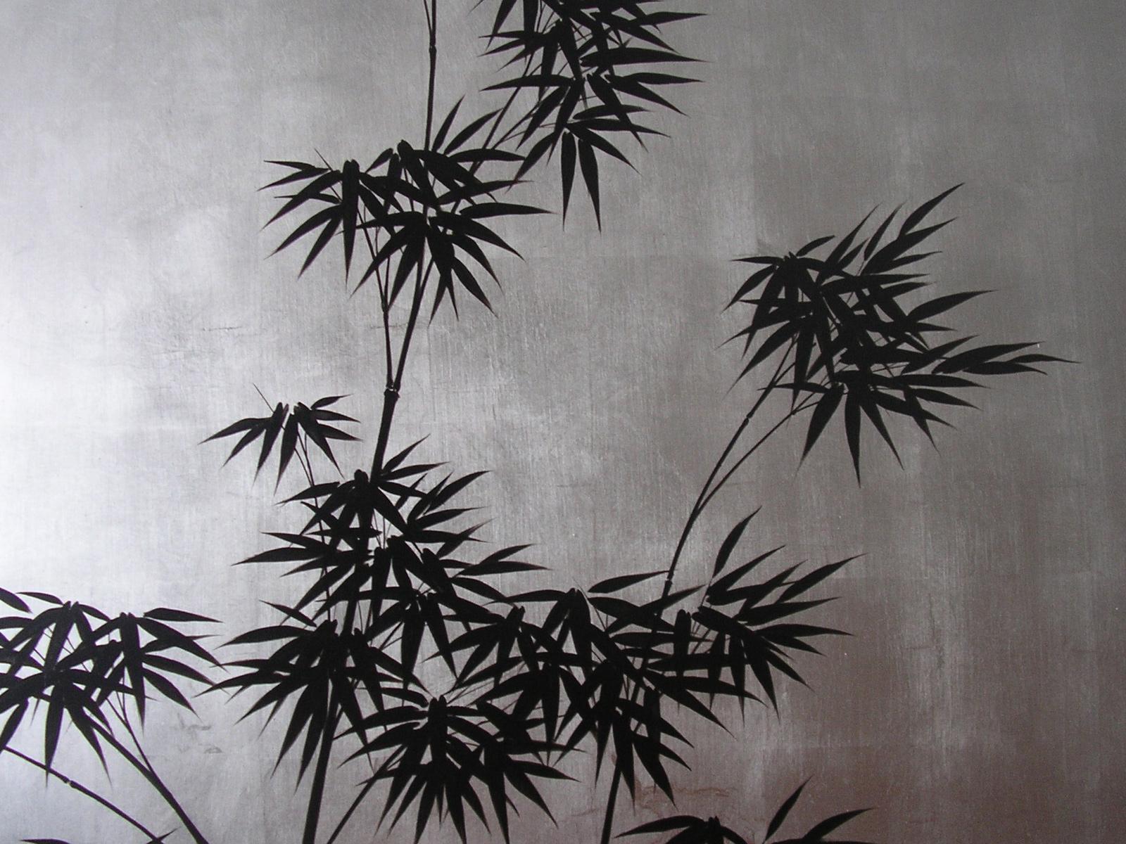 Foglia argento dipinta con decoro bamboo