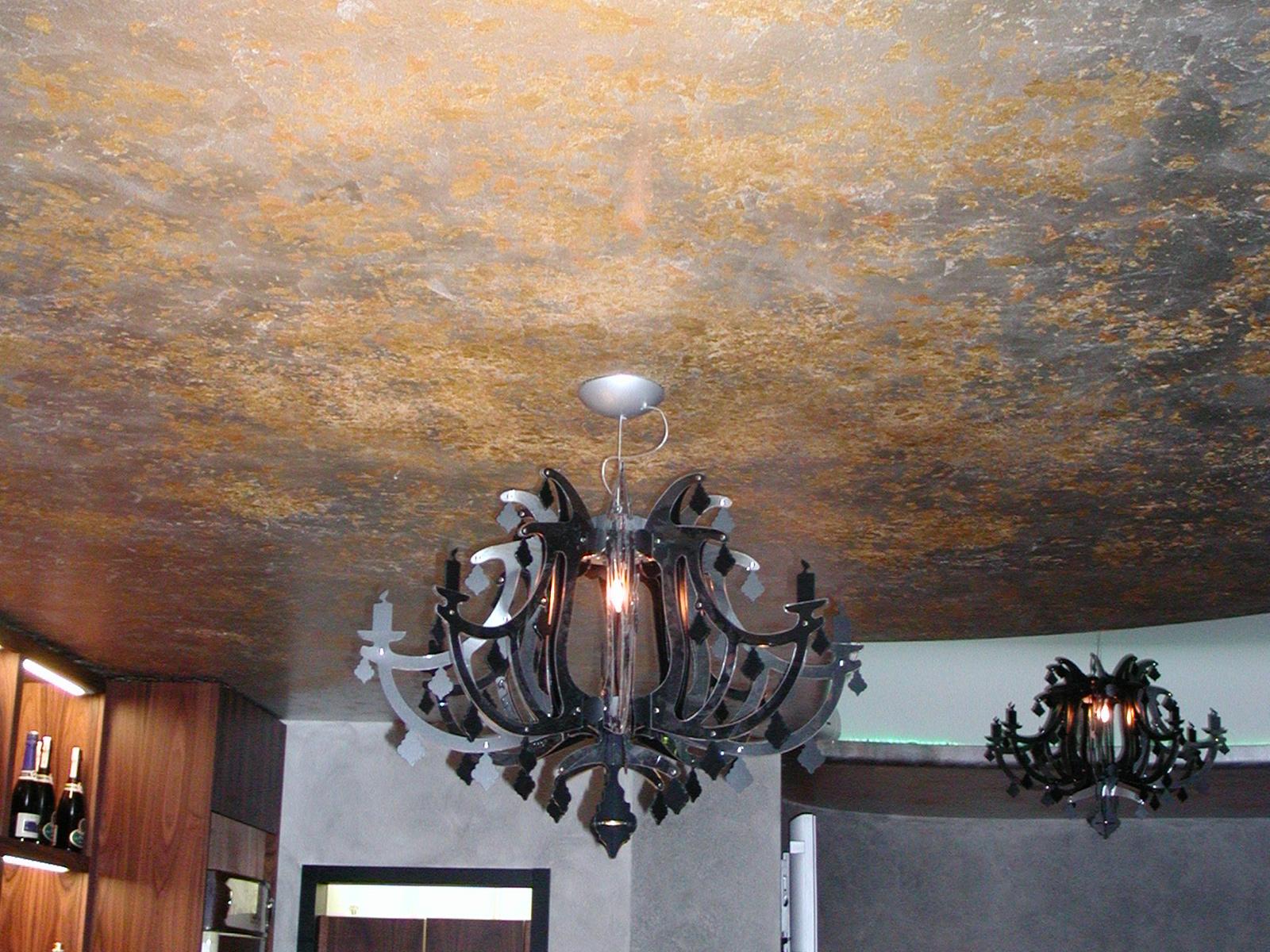Soffitto foglia argento e oro, bar, Giussano MB
