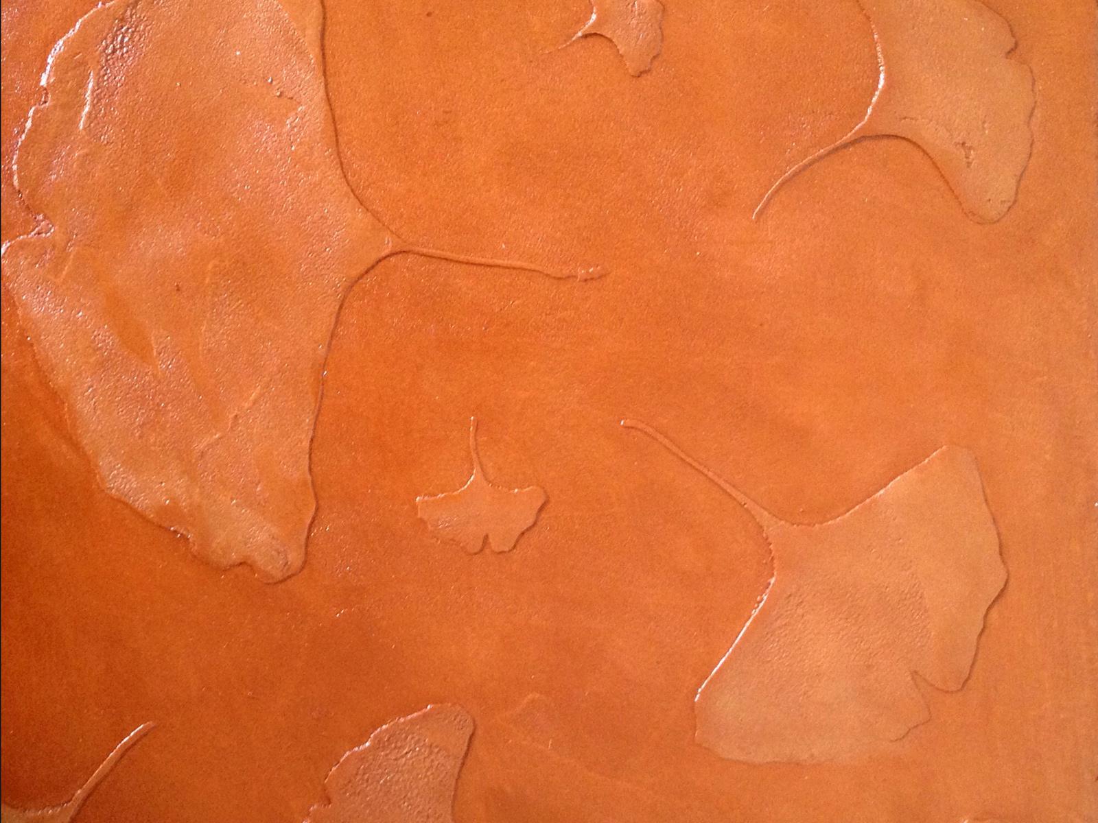 Pannello in resina con decoro ginko a rilievo