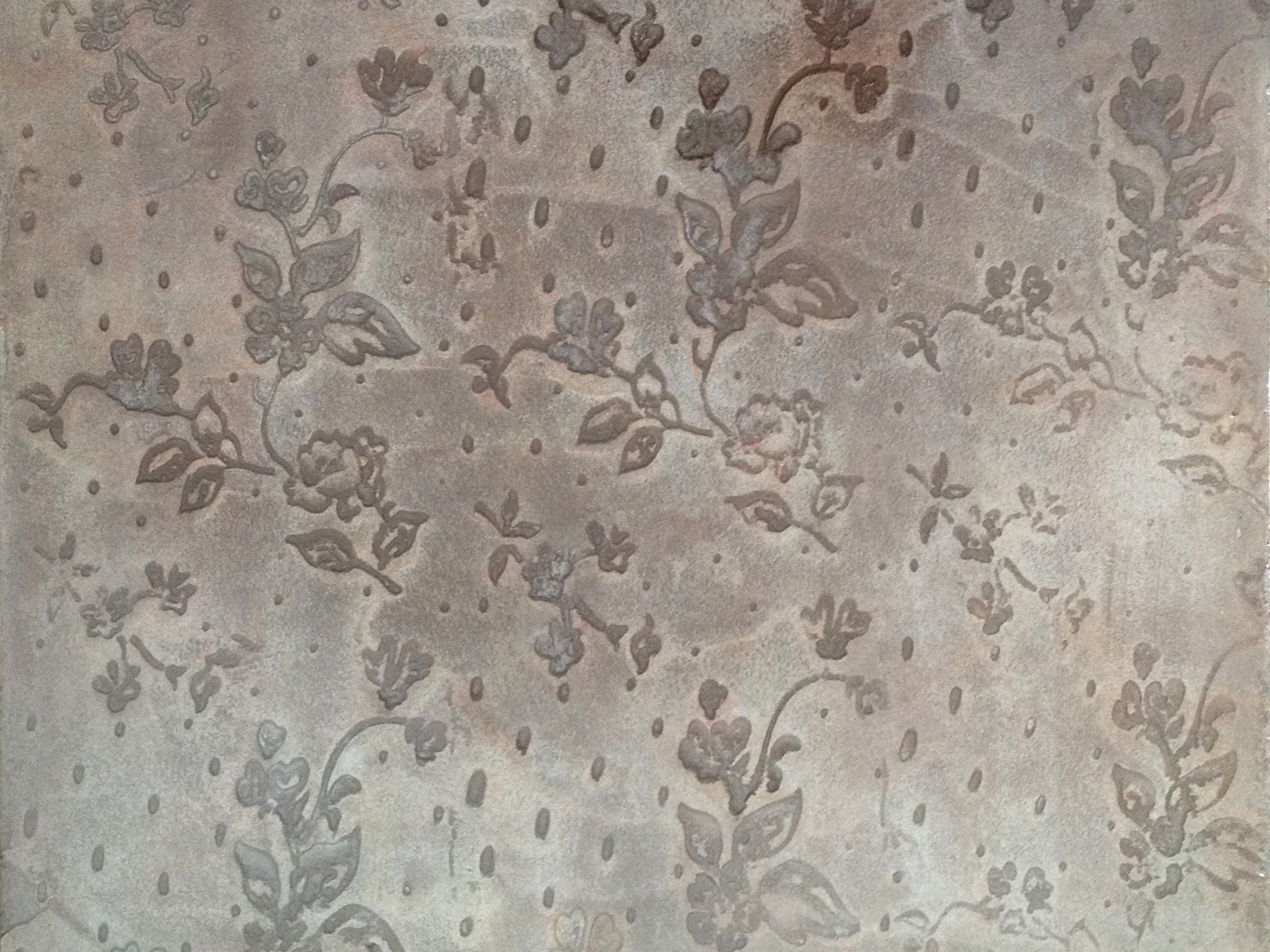 Pannello in resina con decoro floreale