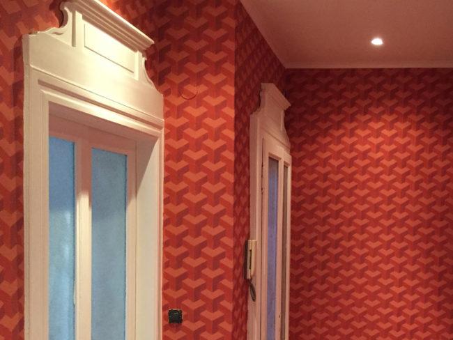 Restauro infissi e decoro optical 3D, abitazione privata, Lecco